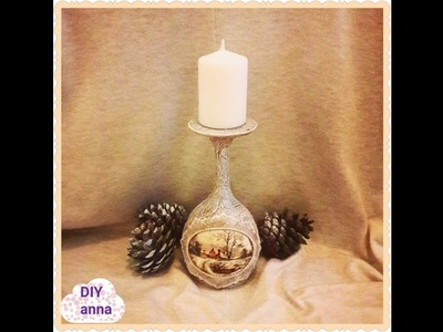 Christmas vintage decoupage candle holder DIY shabby  ideas decorations craft tutorial. URADI SAM