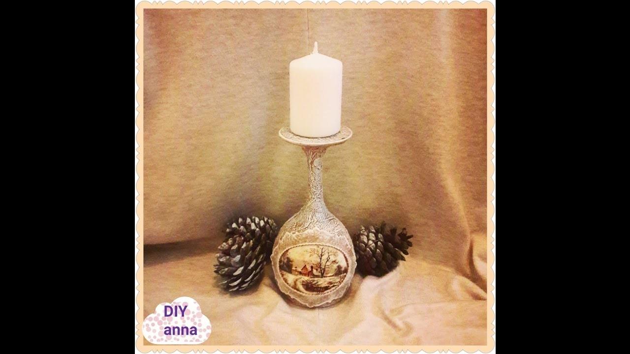 Christmas vintage decoupage candle holder DIY shabby  ideas decorations craft tutorial. URADI SAM
