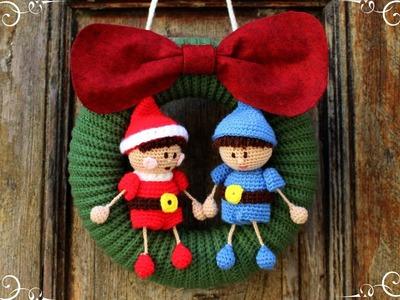 Christmas wreth with elfs | World Of Amigurumi