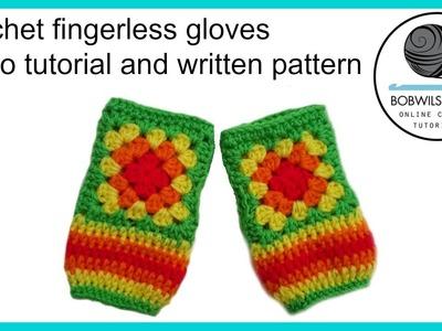 Crochet rainbow finger less gloves promotional video