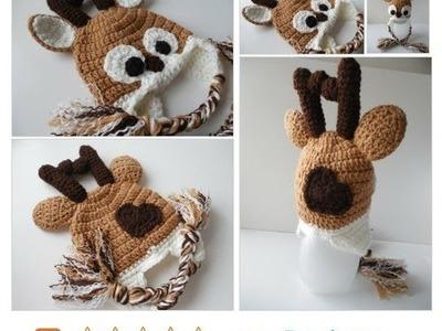 Crochet Reindeer Hat Photo Prop - Handmade Crochet -
