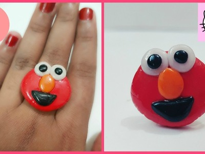 DIY Accessories: Diy Ring.clay ring.DIY sesame street Elmo.Diy jewelry