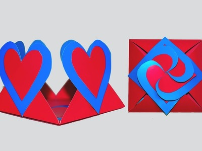 DIY crafts - how to make Love card sealed with hearts - greeting envelope heart. DIY beauty and easy
