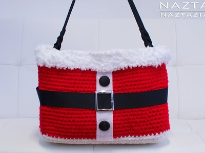 DIY Tutorial - Crochet Christmas Santa Handbag - Purse Tote Bolsa