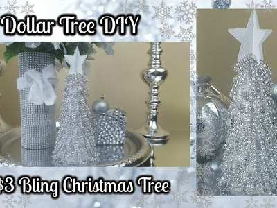 DOLLAR TREE DIY | BLINGY CHRISTMAS TREE $3 EASY HOME DECOR CRAFT