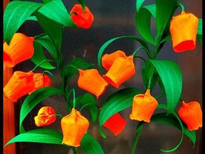 Easy Paper Flowers Christmas Bells. Sandersonia ( flower # 94)