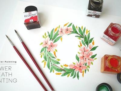 Flower Wreath Watercolor Painting _ 꽃리스 수채화 그리기 (에코라인 수채잉크 Ecoline Liquid Watercolor)