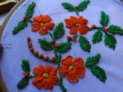 Hand Embroidery Flower Design Fishbone Satin: Buttonhole Stitches by Amma Arts