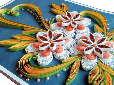☑️How to Make Beautiful Quilling Flowers -Birthday Gift Greeting Card Step by Step❤PaperQuilling Art