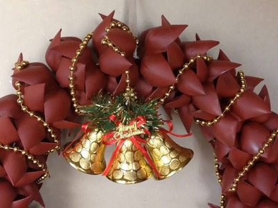 How to Make Christmas Wreath ( Door Decoration ) from Plastic Bottle DIY