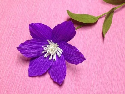 How to Make Clematis Crepe Paper flowers - Flower Making of Crepe Paper - Paper Flower Tutorial