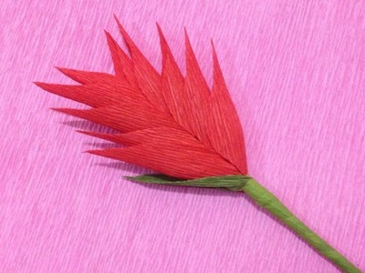 How to Make Heliconia Crepe Paper flowers - Flower Making of Crepe Paper - Paper Flower Tutorial
