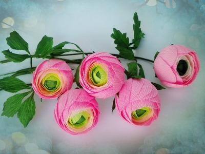 How To Make Ranunculus Flower From Crepe Paper - Craft Tutorial