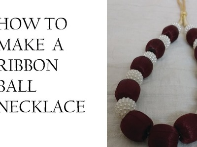 How to make Ribbon ball necklace.DIY-ribbon Necklace Making K creations - 5