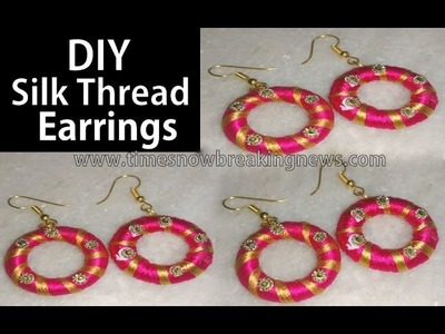How to make silk thread jhumkas | silk thread earrings new designs, DIY earrings with thread