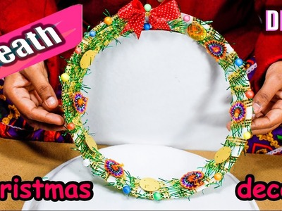 How to make wreath from waste material | DIY christmas room decoration christmas decoration ideas
