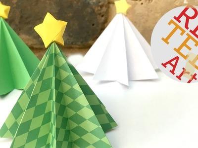 Origami Christmas Tree DIY - 3D Paper DIYs - Christmas Decor DIYs