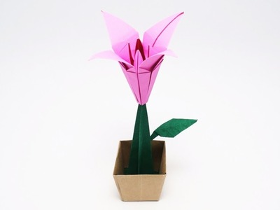 ORIGAMI LILY IN A POT (Traditional.Jo Nakashima)