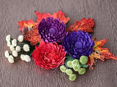 Quilling Tutorial - Chrysanthemum Flowers (Fall Wreath - part 4 of 6)