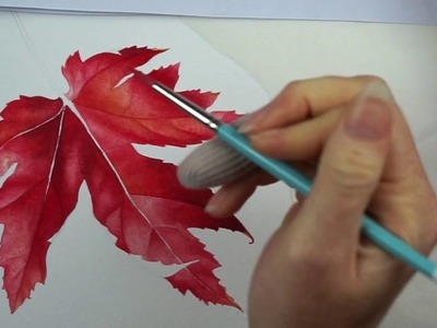 Realistic Autumn Leaf in Watercolor ~ Time Lapse