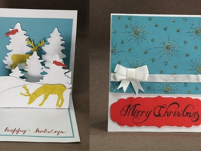 Reindeer Christmas Pop Up Cards - DIY Christmas Card Tutorial with Beautiful Reindeer