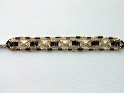 Seed beads and bugle beads bracelet . Beginners bracelet