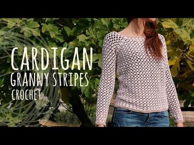 Tutorial Easy Crochet Cardigan - Granny Stripes