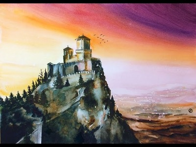 Watercolor Castle on a Hill Painting Demonstration