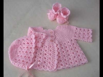 Crochet baby vest - sweater-dress-gorgeous pink