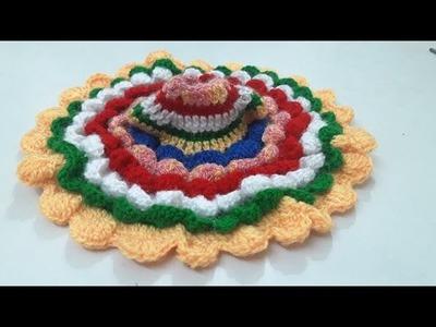 Crochet Multicolour flower dress- make winter crochet dress of bal gopal. ladoo gopal