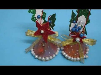 DIY : best out of waste bottle. how to make Christmas bell. recycled bottle craft