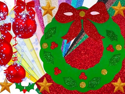 DIY How to Create Christmas Decoration Glitter Christmas Wreath?