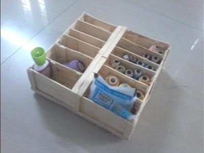DIY: How to make threads storage.oranizer box using popsicle sticks. ice cream sticks