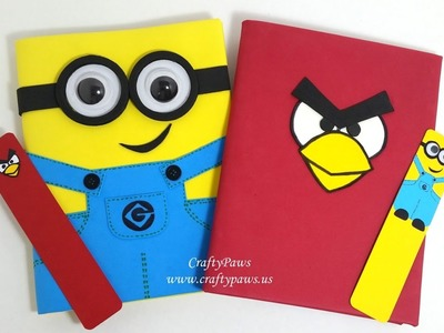 DIY Minions + Angry Bird Notebooks + Bookmarks: vr Justine Stone's Camp Kangaroo Gift From The H