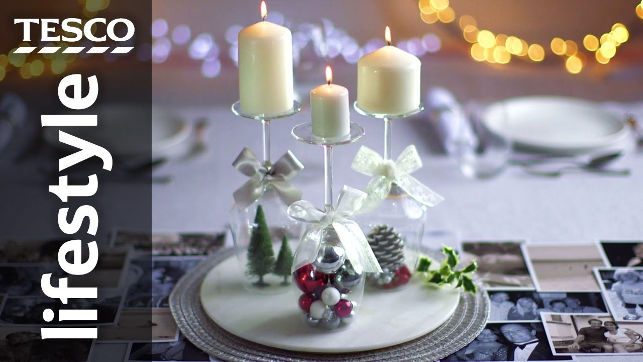 How to Create a Wine Glass Candle Holder for Christmas | Tesco Living
