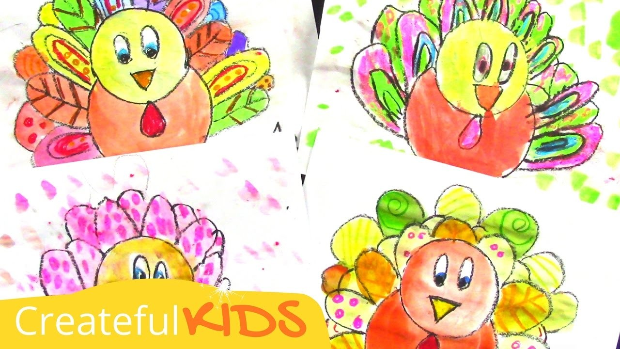 How To Draw and Paint a Turkey--Art Lesson for Kids