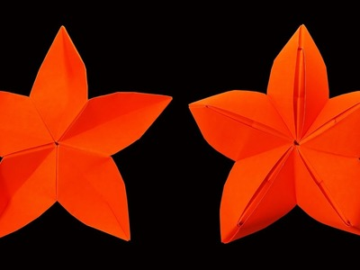 How to make A Origami Star Flower (Christmas Crafts) : HD