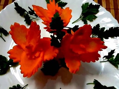 HOW TO MAKE CARROT FLOWER - CARROT GARNISH & VEGETABLE CARVING - CARROT DECORATION - CARROT ART