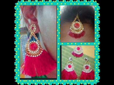 How to make feather earrings & Maang tikka with silk thread easy way in home