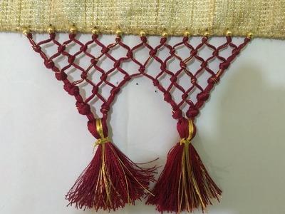 How to make Saree Kuchu. Tassels using Silk & Golden Thread - Beaded Design 1