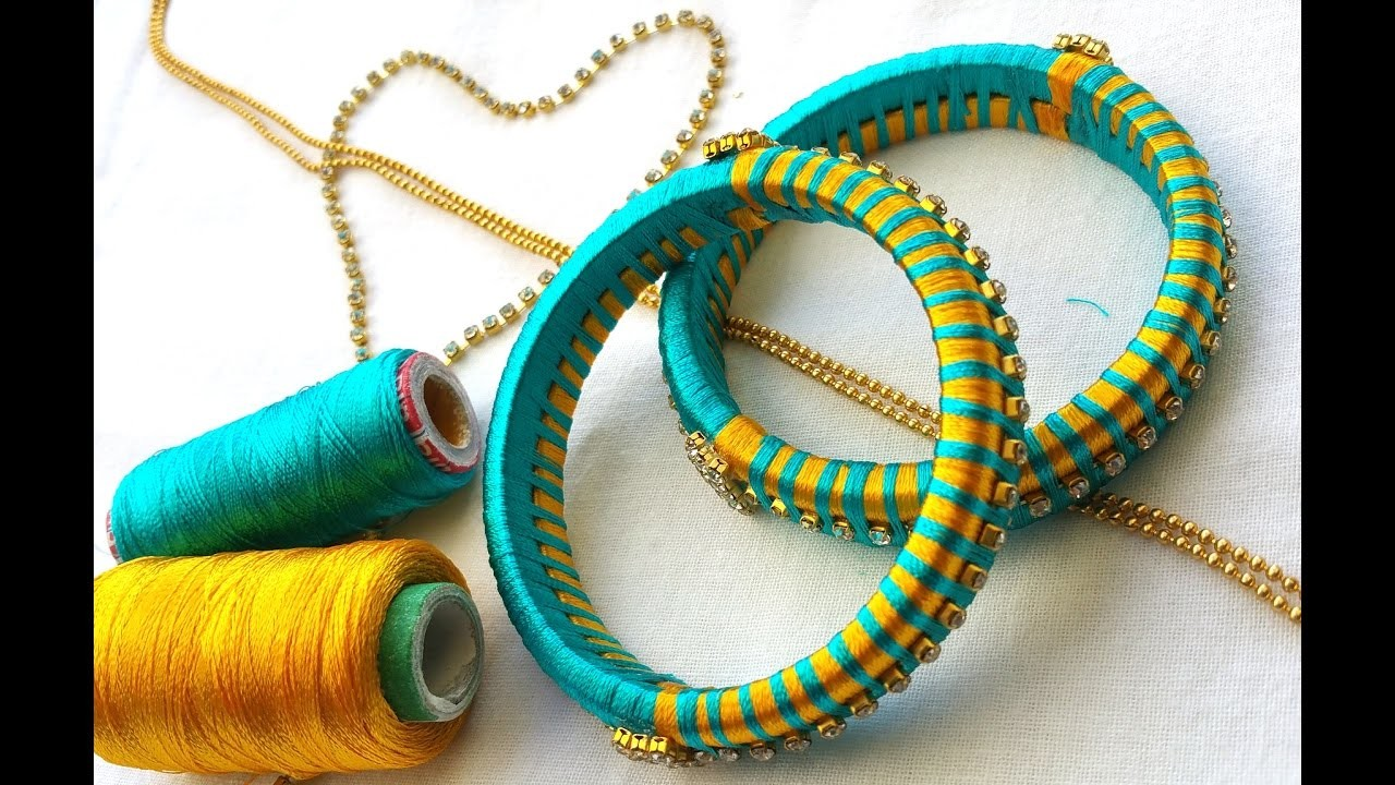 How to make silk thread bangles with gold drop chain # multi color threads
