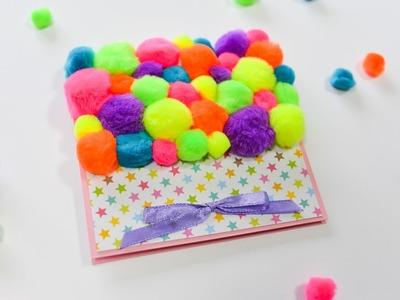 How to Make - Soft Pompom Greeting Card Birthday - Step by Step DIY | Kartka Na Urodziny
