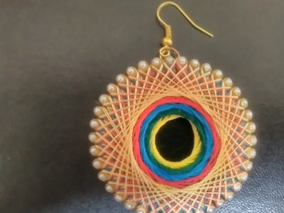 How to wrap center round multicolour silk thread earring
