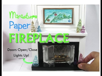 Paper Floor to Ceiling Dollhouse Miniature Fireplace Working Lights and Door How to make diy