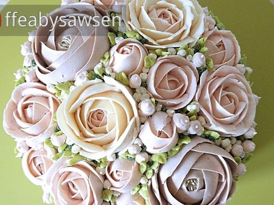 "Beautiful Bouquets 4.5: ""Bridal silk"" domed buttercream flower bouquet cake tutorial step by step"