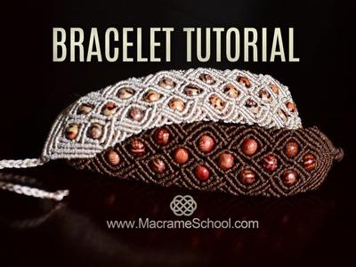 Braided Square Bracelet with Beads | Macramé Tutorial