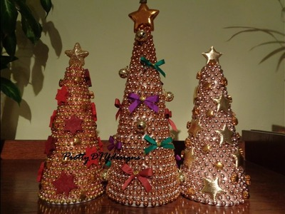 Christmas Decorations out of Polystyrene Cones and Beaded Garlands