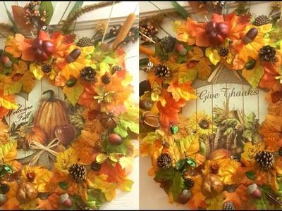 DIY FALL | Thanksgiving Wreath Using Dollar Tree Brands!