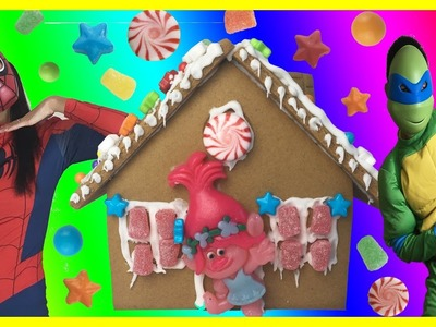 Gingerbread House Trolls DIY Christmas Sugar Cookie House Kit Decorating Candy, Icing, Gummies, Star