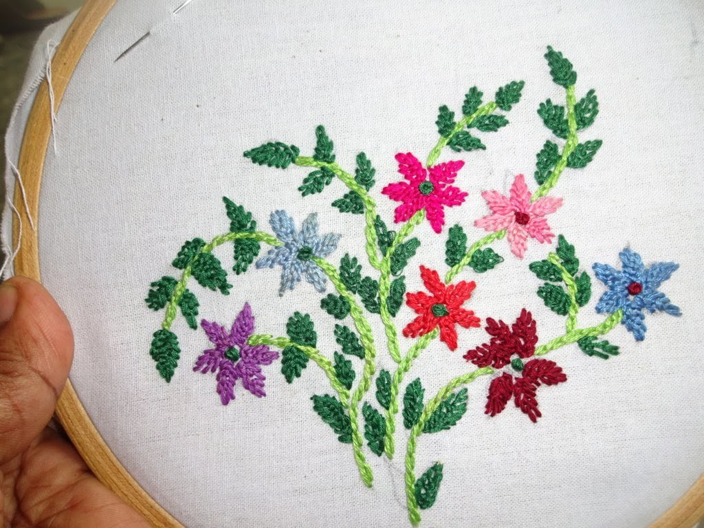 Hand Ebroidery: Closed Fly Stitch: Embroidery by Amma Arts.